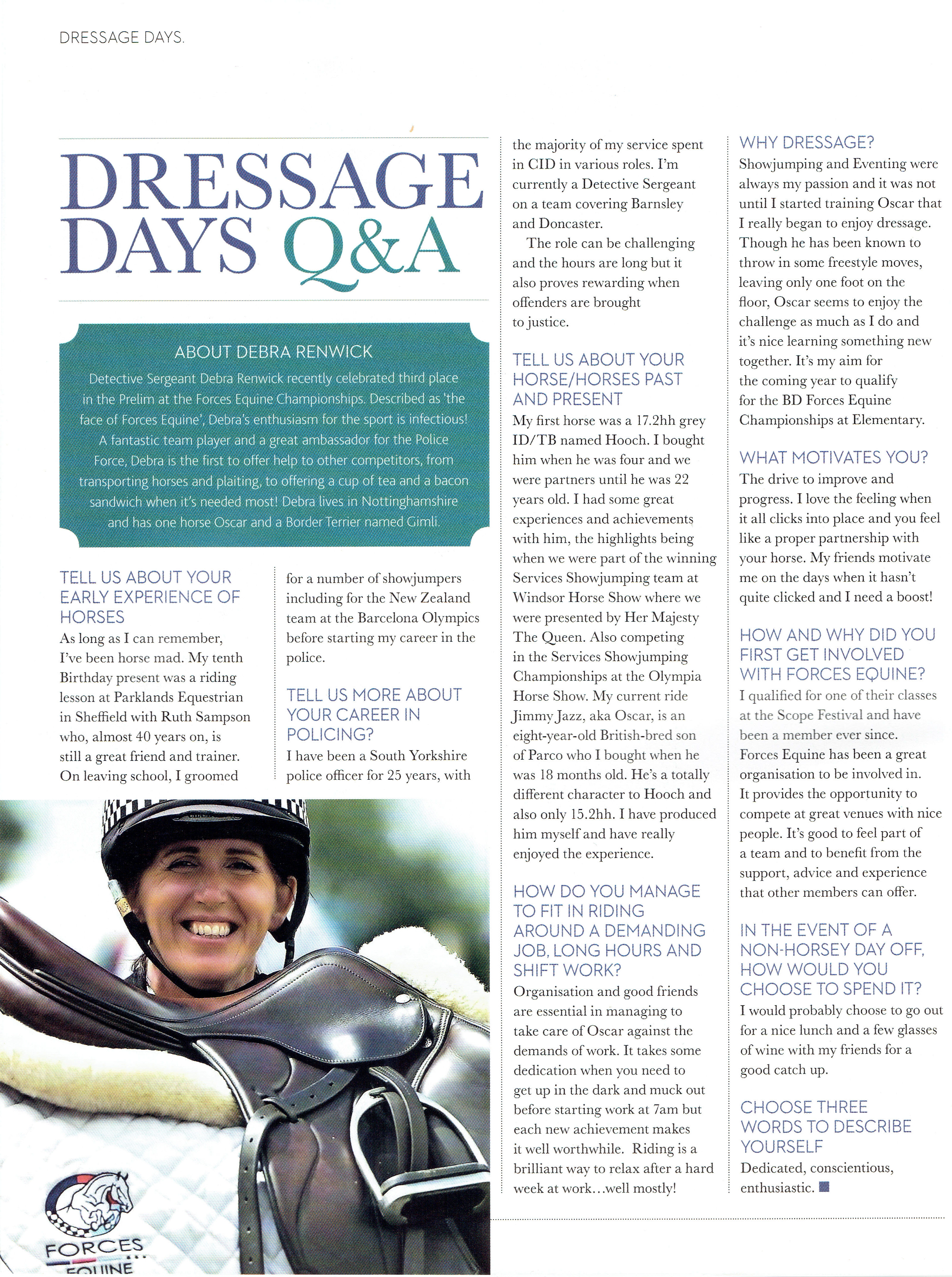 Fantastic write up in British Dressage magazine on our very own DS