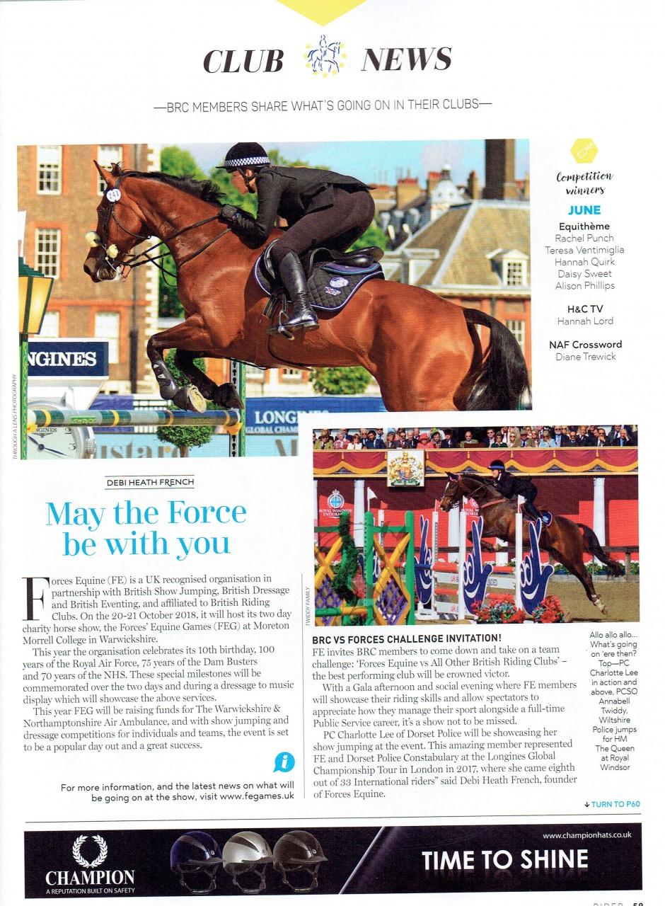 Forces Equine in Rider Magazine